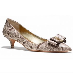 COACH MANDY SOFT PRINTED SNAKE KITTEN HEELS